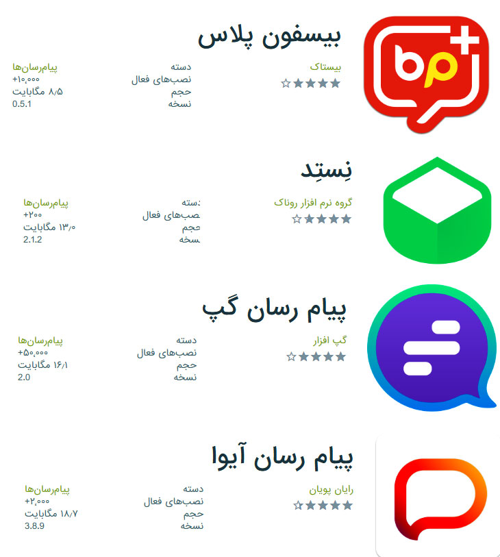 اپلیکیشنهای پیامرسان ایرانی